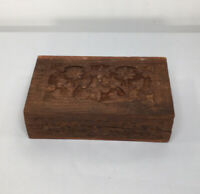 Vintage Hand Carved Wooden Jewelry Trinket Box Made In India