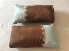 Cushions rectangular brown teal with embroidered cream flowers faux silk,