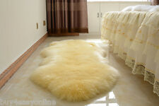 180x65cm Double Pelt Sheepskin Carpet Beige Real Australian 6' x 2' Fur Rug