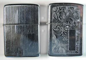 2 Vintage Pinstripe & Flower Scroll Zippo Bradford PA Cigarette Lighters