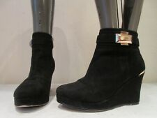 RIVER ISLAND BLACK SYNTHETIC WEDGE ZIP UP BOOTS BOOTIES UK 5 (3422)