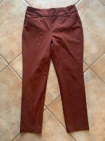 Chico's SO SLIMMING Womens Sz 1 Short Rust Red Straight Leg Pants Pockets