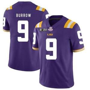 BURREAUX #9 Joe Burrow Jersey Purple, All Sizes! 2020 Patch High Quality