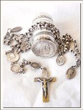 ANTIQUE 1910's FRENCH ND OUR LADY LOURDES CAPSULE LOCKET CASE & ROSARY w/ MEDALS