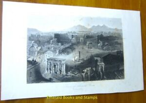 "EBS 19th Century Original Steel Engraving: ""Ruins of Ancient Rome"" 143"