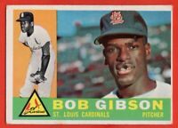 1960 Topps #73 Bob Gibson VG-VGEX CREASE MARKED St. Louis Cardinals HOF FREE S/H