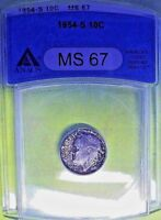 1954-S ANACS MS 67 Roosevelt Silver Dime! Natural Toned *Top Pop*!!!