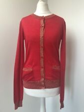 Bnwt Joseph Red Cashmere Cardigan.gold Trim.size Small.£320