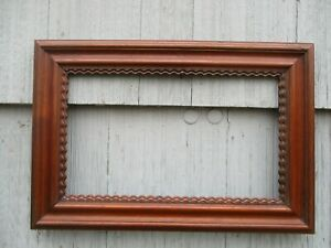 NICE Antique Walnut Rippled Wood Picture Mirror Frame fits 17 x 10