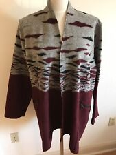 Norm Thompson Womens 2X Wool Blend Open Front Cardigan Jacket Burgundy Grey