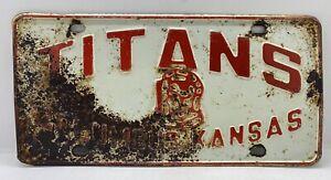 Vintage TITANS Columbus Kansas High School Football Embossed Steel License Plate