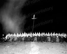 8x10 Print KKK Ku Klux Klan Meeting 1922 Location Unknown Cross Burning #KK83
