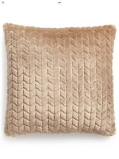 "Martha Stewart Quilted Faux Fur 20"" Square Decorative Pillow Wheat Free Shipping"