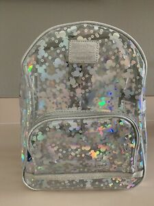 Disney Parks Loungefly Mickey Magic Mirror Metallic Clear Backpack NEW