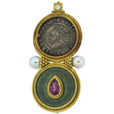 Large Elizabeth Gage 18k Gold Ancient Coin Pearl Amethyst Diamond Brooch
