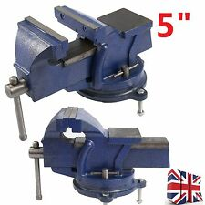 "5"" 125mm Work Shop Bench Vice Vise Clamp Engineer Jaw Swivel Base Cast Iron Tool"