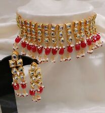 Kundan With Red Pearl Drops Women Necklace & Earrings Set Charming Layered