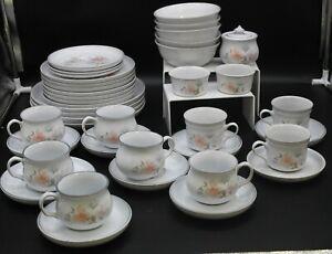 Large 40 Piece White Pink Denby Floral Tea, Dinner Service Set, Collectable