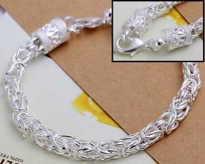 "925 Sterling Silver Womens Dragon Link 7 1/2"" Bracelet + GiftPg D461"