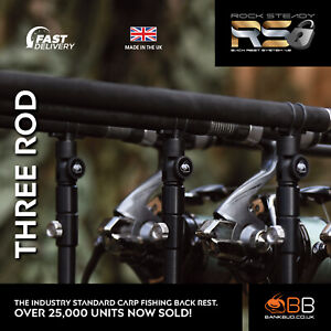 NEW Bank BUG Rock Steady Back Rest System V2 for Carp Fishing THREE ROD PACK