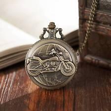 Bronze Motorcycle Motorbike MOTO Pocket Watch Vintage Necklace Pendant Men Gift