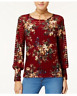 NEW One Hart Juniors Floral-Print Smocked Sheer Blouse Red Size Small
