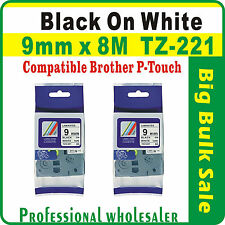 4 Pcs Value Pack Brother 9mm x 8m Black on White Compatible TZ-221 Label Tape