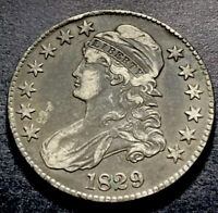 1829 Capped Bust Silver Half Dollar 50c Small Letters O-107 R-3 High Grade