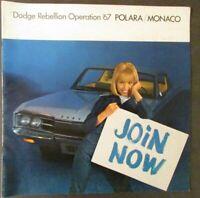 1967 Dodge Polara Monaco Sales Brochure Color Original