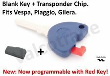 Uncut Key Blank for Piaggio Beverly , X9 500 ie 500cc. Includes Immobilizer Chip
