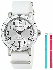 NAUTICA SET SILVER+WHITE,FUCHSIA PINK+TURQUOISE BLUE WEEKENDR BAND WATCH-N11631M