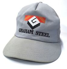 551ec7d6501f7 Vtg GRAHAM STEEL Embroidered SnapBack Trucker Ball Cap MADE in USA Hat Lid  c6