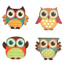 Attraction Design Cute Owls Wooden Magnetic Display Set of 4