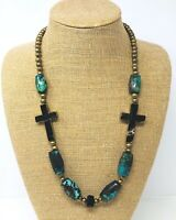 Turquoise Barrel Beads and Cross Necklace