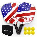 USAPA Approved PickleBall Paddle Graphite Racket Honeycomb Core with 6 Balls