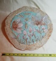 """LARGE FLOWER SERVING PLATTER CERAMIC GLAZED WITH LILLIES & TEXTURE ROUND 12"""""""