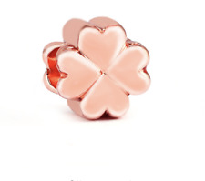 Rose Gold Four Leaf Clover Spacer Charm for Charm Bracelet Luck Good Luck