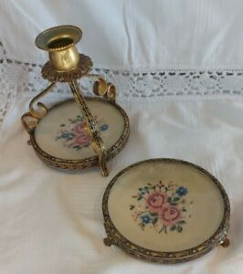 Vintage Petite Point Embroided Metal Candlestick and Matching Dish