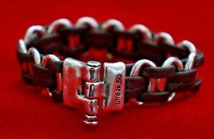 "NEW Uno De 50 Men Women Silver Leather Pin Closure Unisex Statement Bracelet 7"""