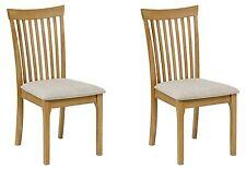 Julian Bowen Ibsen Light Oak Solid Wood Set Of Two Dining Chairs Fabric Seats