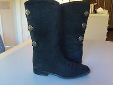 Authentic BALLY Boots Sz 6½  Black Suede Equestrian Style Leather Lined Mid-calf