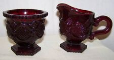 Vintage 1876 CAPE COD COLLECTION SUGAR & CREAMER Red Glass Pre-Owned