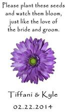 Wedding Favor Seed Packets Personalized Purple Daisy Custom Favors Set of 100