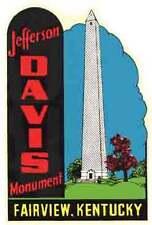 Jefferson Davis -Confederate-   KY   Vintage Looking Travel Decal Label Sticker