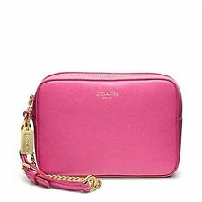 NWT Coach Saffiano Leather Fight Wristlet Wallet 49790 Brass/Pink Perfect 4 Gift