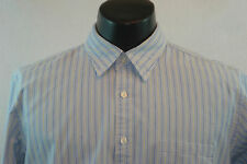 J. CREW Tailored Fitted Dress Shirt - Blue with Yellow Stripes