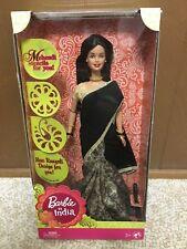Barbie In India Trdnl Dress Doll Black Gold Saree Mehendi stencil Rangoli Design