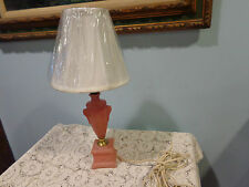 Vintage Pink Frosted Gl Boudoir End Table Lamp Working New Shade