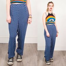 90'S WOMENS TROUSERS VINTAGE BLUE & WHITE FLORAL STYLE SPOTTED WIDE LEG 20