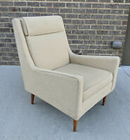 Mid Century Modern Ivory Tweed Lounge Chair Paul Mccobb Style Vintage